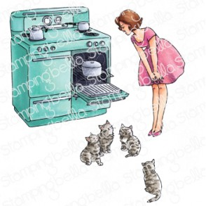 EDGAR AND MOLLY VINTAGE HERE KITTY SET (SET OF 3 RUBBER STAMPS)