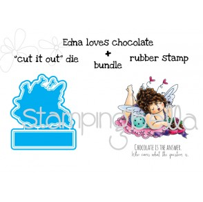 "Edna loves CHOCOLATE ""CUT IT OUT"" dies + RUBBER STAMP BUNDLE (save 15% when purchased together)"