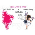"Edna loves to SWEEP RUBBER STAMP + ""CUT IT OUT"" BUNDLE (save 15%)"