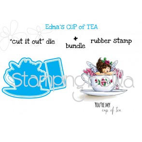 "Edna's cup of tea  ""CUT IT OUT"" DIES + RUBBER STAMP BUNDLE (save 15% when you purchase together)"