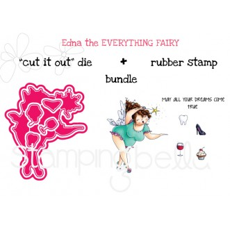 """EDNA the EVERYTHING FAIRY """"CUT IT OUT"""" DIES + RUBBER STAMP """"BUNDLE"""" (save 15%)"""