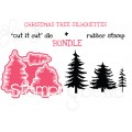 """CHRISTMAS TREE SILHOUETTES RUBBER STAMP + """"CUT IT OUT"""" DIES BUNDLE (SAVE 15%)"""