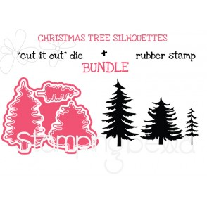 "CHRISTMAS TREE SILHOUETTES RUBBER STAMP + ""CUT IT OUT"" DIES BUNDLE (SAVE 15%)"