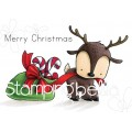 REINDEER WITH A GIFT RUBBER STAMP