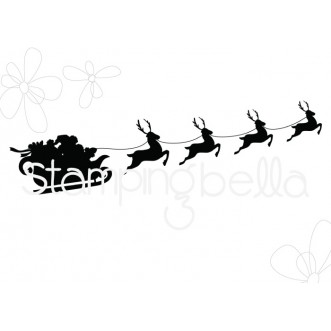 SANTA'S SLEIGH SILHOUETTE RUBBER STAMP