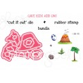 """CAVE KIDS ADD ONS  """"CUT IT OUT"""" DIES +RUBBER STAMP BUNDLE (save 15%)"""