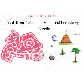 "CAVE KIDS ADD ONS  ""CUT IT OUT"" DIES +RUBBER STAMP BUNDLE (save 15%)"