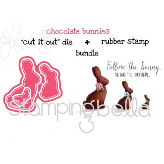 "chocolate BUNNIES RUBBER STAMP + ""CUT IT OUT"" DIES BUNDLE (save 15%)"
