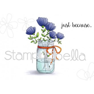 MASON JAR OF FLOWERS RUBBER STAMP (set of 2)