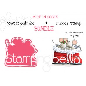 """MICE IN BOOTS RUBBER STAMP + """"CUT IT OUT"""" DIE BUNDLE (SAVE 15%)"""