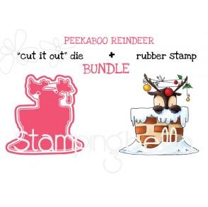 """PEEKABOO REINDEER RUBBER STAMP + """"CUT IT OUT"""" DIE BUNDLE (SAVE 15%)"""