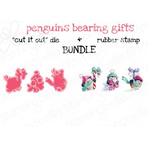 """PENGUINS BEARING GIFTS RUBBER STAMPS + """"CUT IT OUT"""" DIES (save 15%)"""