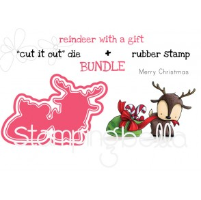 """REINDEER WITH A GIFT RUBBER STAMP + """"CUT IT OUT"""" DIE BUNDLE (SAVE 15%)"""