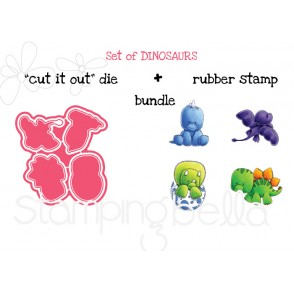"""SET OF DINOSAURS """"CUT IT OUT"""" DIES + RUBBER STAMP BUNDLE (save 15%)"""