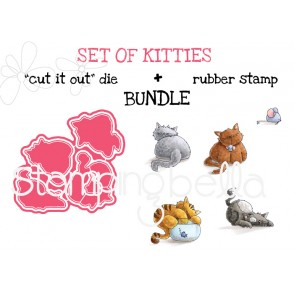 """SET OF KITTIES rubber stamp + """"CUT IT OUT"""" BUNDLE (save 15%)"""