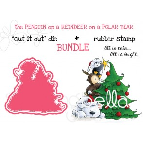 "THE PENGUIN ON A REINDEER ON A POLAR BEAR RUBBER STAMP + ""CUT IT OUT"" DIE BUNDLE (SAVE 15%)"