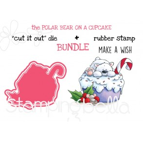 """POLAR BEAR ON A CUPCAKE RUBBER STAMP + """"CUT IT OUT"""" DIE BUNDLE (SAVE 15%)"""
