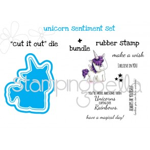 "UNICORN sentiment set ""CUT IT OUT"" DIE + RUBBER STAMP BUNDLE (save 15% when purcahsed together)"