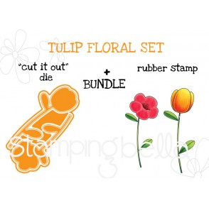 "TULIP FLORAL SET RUBBER STAMPS + ""CUT IT OUT"" DIES"