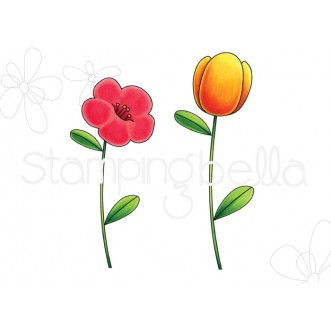 TULIP FLORAL SET RUBBER STAMPS