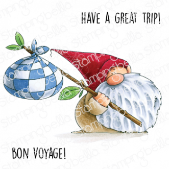 TRAVELING GNOME RUBBER STAMP