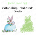 """GNOME ON AN EGG RUBBER STAMP + """"CUT IT OUT"""" DIE BUNDLE (SAVE 15%)"""