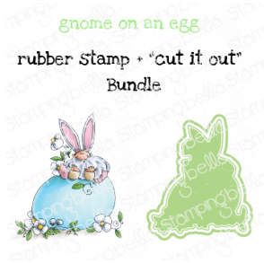 "GNOME ON AN EGG RUBBER STAMP + ""CUT IT OUT"" DIE BUNDLE (SAVE 15%)"