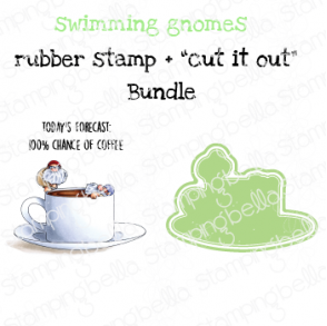 """SWIMMING GNOMES RUBBER STAMP + """"CUT IT OUT"""" DIE BUNDLE (SAVE 15%)"""