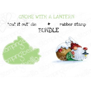 "GNOME with a LANTERN RUBBER STAMP + ""CUT IT OUT"" DIE BUNDLE (save 15%)"