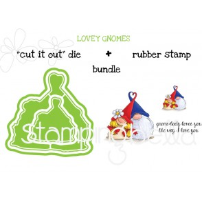 """LOVEY GNOMES RUBBER STAMP + """"CUT IT OUT"""" DIES BUNDLE (SAVE 15%)"""