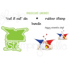 """SMOOCHIE GNOMES RUBBER STAMP + """"CUT IT OUT"""" DIE BUNDLE (SAVE15%!)"""