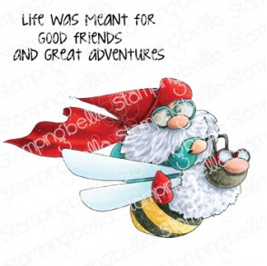 FLYING GNOME RUBBER STAMP