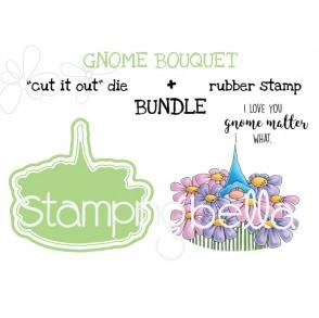 """GNOME BOUQUET RUBBER STAMP + """"CUT IT OUT"""" BUNDLE (save 15%)"""