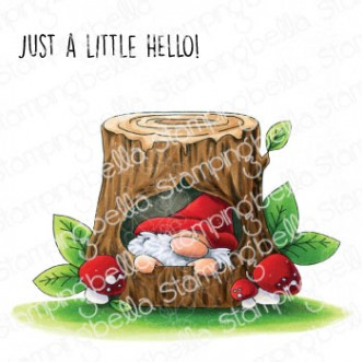 GNOME IN A TREE RUBBER STAMP