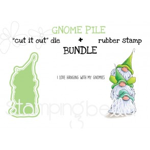 """GNOME PILE RUBBER STAMP + """"CUT IT OUT"""" DIE BUNDLE (save 15%)"""