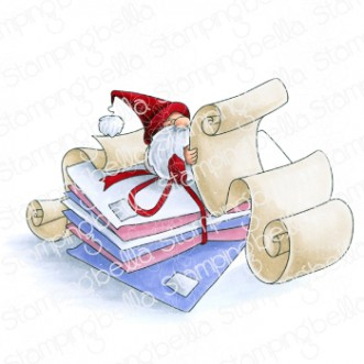 GNOME WITH A LIST rubber stamp