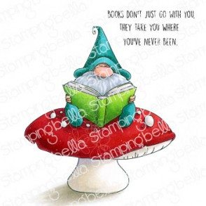 READING GNOME RUBBER STAMP