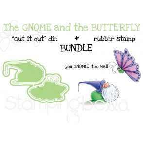 "The Gnome and the BUTTERFLY RUBBER STAMP + ""CUT IT OUT"" DIE BUNDLE (save 15%)"