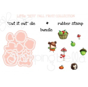 "LITTLE BITS FALL FRUIT COLLECTION RUBBER STAMP + ""CUT IT OUT"" BUNDLE (save 15%)"