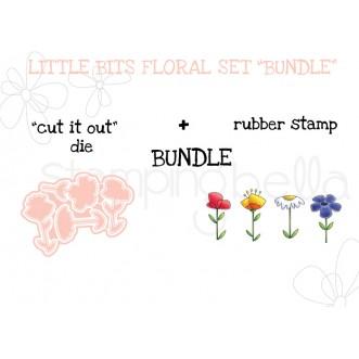 """LITTLE BITS FLORAL SET RUBBER STAMPS + """"CUT IT OUT"""" DIES BUNDLE"""