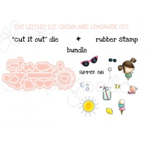"LITTLE BITS  ICE CREAM AND LEMONADE SET  ""CUT IT OUT DIE""+ RUBBER STAMP BUNDLE (save 15%)"