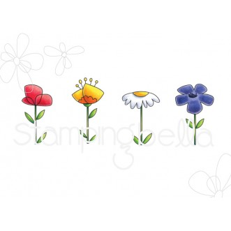 LITTLE BITS FLORAL SET RUBBER STAMPS
