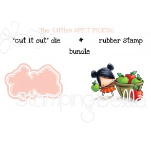 "THE LITTLES APPLE PICKING RUBBER STAMP + ""CUT IT OUT"" DIE BUNDLE (save 15%)"