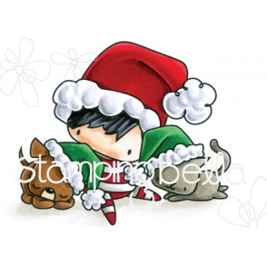 THE LITTLES CHRISTMAS BOY WITH PETS rubber stamp