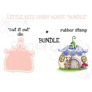 """LITTLE BITS FAIRY HOUSE RUBBER STAMP + """"CUT IT OUT"""" DIE"""