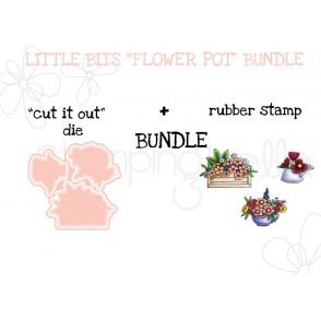 """LITTLE BITS FLOWER POTS RUBBER STAMPS + """"CUT IT OUT"""" DIES BUNDLE"""
