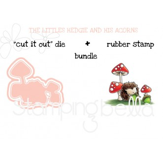 """THE LITTLES HEDGIE and his ACORNS RUBBER STAMP + """"CUT IT OUT"""" DIE BUNDLE (save 15%)"""