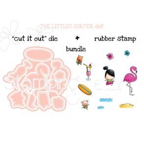 """LITTLE BITS  SURFER SET """"CUT IT OUT"""" DIES + RUBBER STAMP BUNDLE (Save 15%!)"""