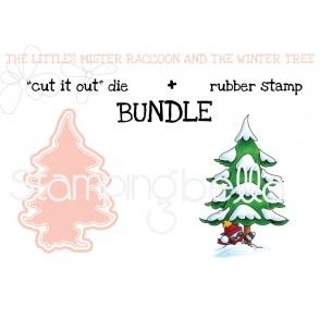 """THE LITTLES MISTER RACCOON and the WINTER TREE """"cut it out"""" die + rubber stamp bundle"""