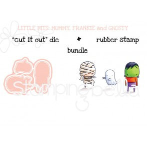 "little bits MUMMY FRANKIE and GHOSTY RUBBER STAMPS + ""CUT IT OUT"" DIE BUNDLE (save 15%)"